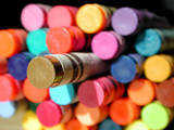 isolated gold crayon poster