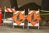 pair of construction signs poster