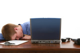 young man asleep at desk poster