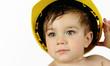toddler boy in construction hat