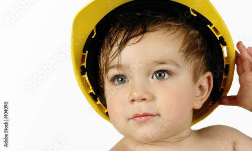 toddler boy in construction hat