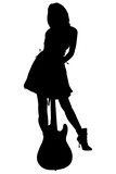 silhouette with clipping path woman with bass guit poster