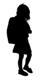 silhouette with clipping path of young girl with b poster
