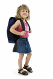 school girl with backpack poster