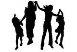silhouette with clipping path friends jumping poster