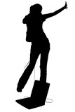 silhouette with clipping path teen girl dancing wi poster