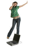 teen girl dancing with laptop and headphones poster