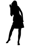 silhouette with clipping path teen dancing to musi poster