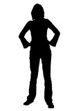silhouette with clipping path woman standing with poster
