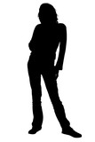silhouette with clipping path woman standing poster