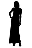 silhouette with clipping path woman in formal gown poster