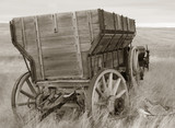 antique wood wagon in sepia poster