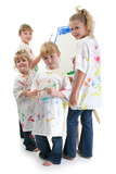 four girls painting at easel poster