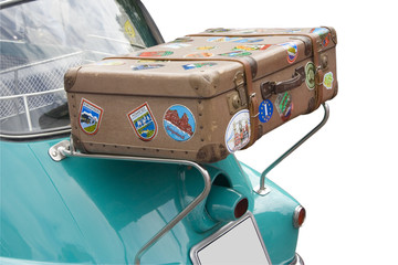 an old case on the back of a bmw isetta