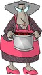 old woman with a pot of food