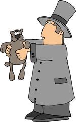 man holding a groundhog