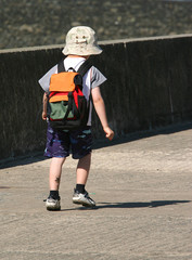 a child walking alone