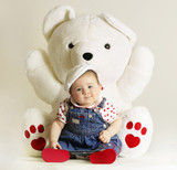baby with white teddy