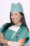 nurse in green scrubs poster