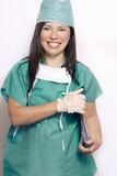 nurse in green scrubs uniform poster