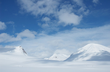 snowy mountains in Kungsleden, Lapland, North of Sweden