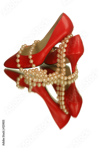 red shoes with pearls