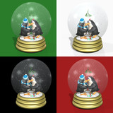 kissing penguins snow globes poster