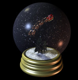 flying santa snow globe poster