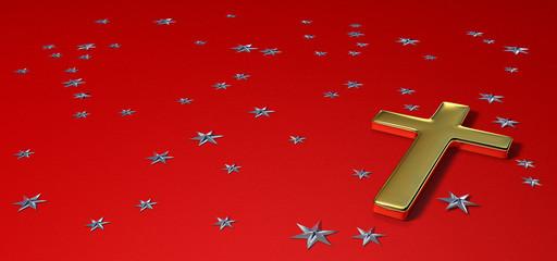 croix en or sur fond rouge étoilé