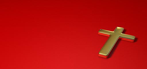 croix en or sur fond rouge