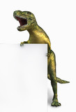dinosaur holding edge of blank sign poster
