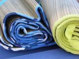 blue and green bamboo beach mats poster
