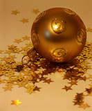gold christmas ball poster