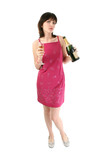 beautiful young woman in party dress with champagn poster