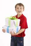 boy carrying gifts poster