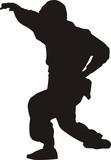 jiu-jitsu fighter silhouette poster