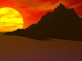 desert sun mountain poster