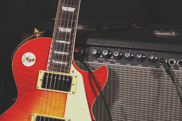 classic electric guitar and amplifier