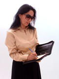 business lady taking notes poster