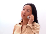 business lady on phone poster