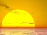 bright sun sunset poster