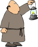 monk with a lantern poster