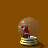 santa trapped in snow globe poster