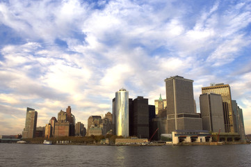 view of downtown manhattan at dusk