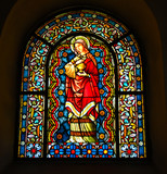 staind-glass church window. st.magdalena poster