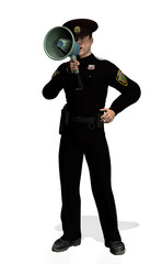policeman with megaphone 2