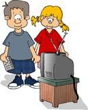 kids watching tv poster