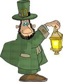 leprechaun holding a lantern poster