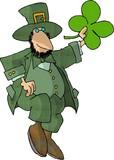 leprechaun holding a 4-leaf clover poster