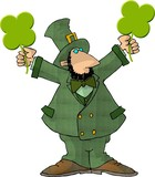leprechaun holding two 4-leaf clovers poster